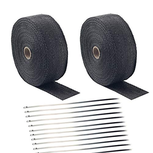 "Foneso 2"" x 50' Black Exhaust Heat Wrap Roll for Motorcycle Fiberglass Heat Shield Tape with Stainless Ties (2 Roll + 24 Ties Kit)"